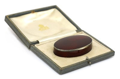 Lot 599 - A sterling silver guilloché enamelled snuffbox