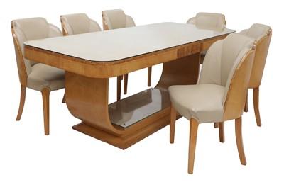 Lot An Art Deco burr maple dining suite
