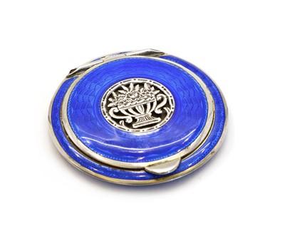 Lot 10 - An Austrian Art Deco enamelled sterling silver compact