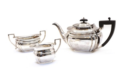 Lot 33 - A silver three piece tea service by Viner's