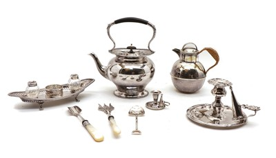 Lot 24 - A silver plated inkstand of navette form