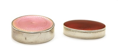 Lot 22 - Two Norwegian sterling silver guilloche enamelled pill boxes