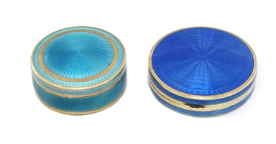 Lot 2 - A French guilloche enamelled gilt silver pill box