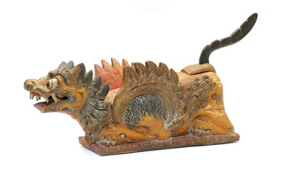Lot 97 - A Chinese carved and painted model of a dragon with removeable tail