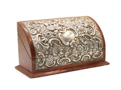 Lot 13 - A Victorian silver mounted stationery box