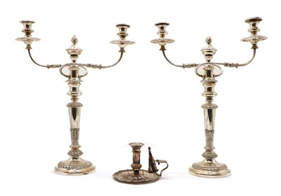 Lot 39 - A pair of silver plated twin branch candelabra
