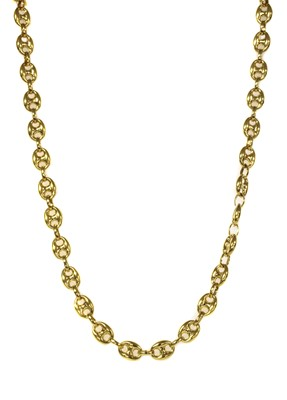 Lot 76 - A 9ct gold hollow anchor link necklace