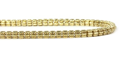 Lot 78 - A 9ct gold hollow cylinder bead link necklace