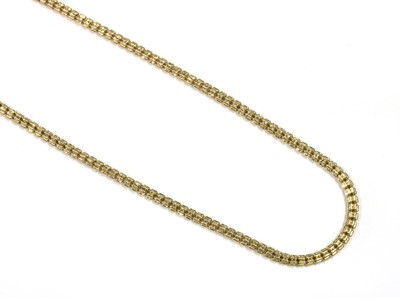 Lot 104 - A 9ct gold hollow cylinder bead link necklace