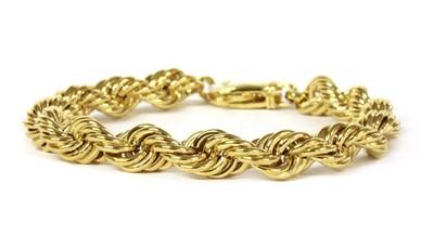 Lot 72 - A 9ct gold hollow rope link bracelet