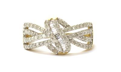 Lot 65 - A 9ct gold diamond set knot design ring