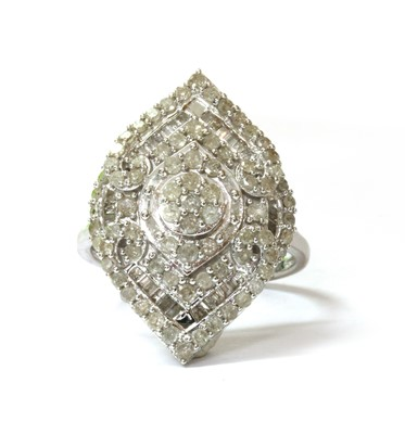 Lot 88 - A 9ct white gold diamond cluster ring