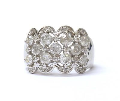 Lot 82 - A 9ct white gold five row diamond ring.