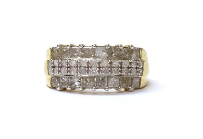 Lot 66 - A 9ct gold four row diamond ring