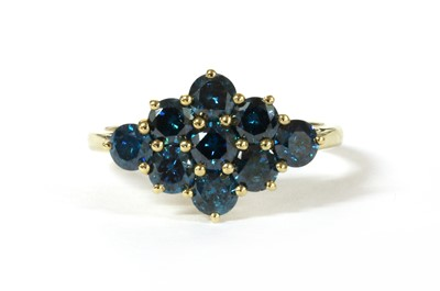 Lot 36 - A 9ct gold treated blue diamond ring
