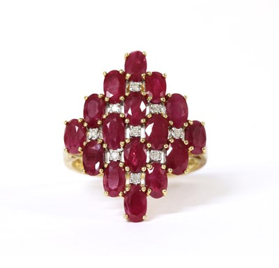 Lot 95 - A 9ct gold ruby and diamond ring