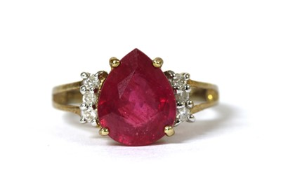 Lot 88 - A 9ct gold fracture filled ruby and diamond ring