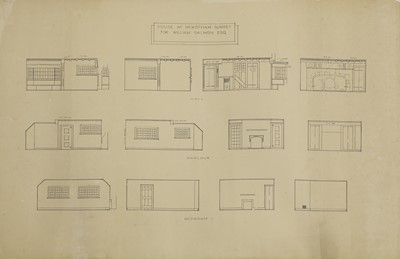 Lot 79 - A collection of architectural elevations and floor plans