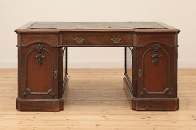 Lot 14 - A George III-style walnut partners' desk