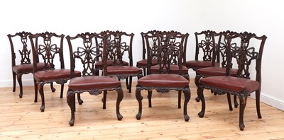 Lot 81 - A set of twelve mahogany dining chairs in the manner of Gillows