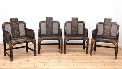 Lot 86 - A set of four chinoiserie lacquered armchairs