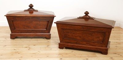Lot 18 - A near pair of mahogany wine coolers