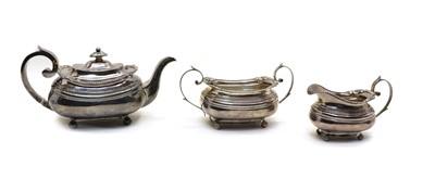 Lot 40 - A George III silver three piece teaset