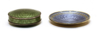 Lot 20 - A silver and enamelled pill box and cover