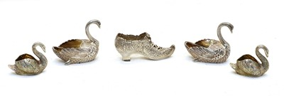 Lot 66 - A pair of Dutch silver ornaments in the form of swans