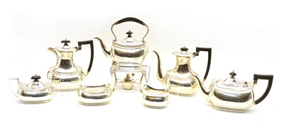 Lot 74 - An extensive silver seven-piece matched coffee and tea service