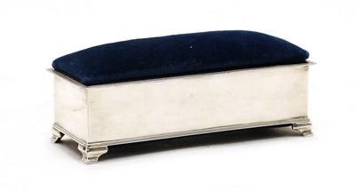 Lot 75 - A silver velvet jewellery casket