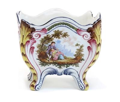 Lot 81 - An 18th century  French Marseilles Veuve Perrin tin glazed pottery pot pourri vase