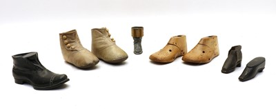 Lot 106 - Various shoes including a pair of Victorian cream child's buttoned boots