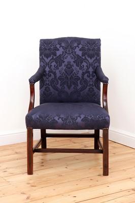 Lot 57 - A George III mahogany Gainsborough armchair