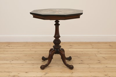 Lot 15 - An octagonal walnut and specimen marble-topped table