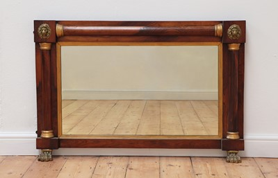 Lot 487 - A Regency rosewood and parcel-gilt overmantel mirror