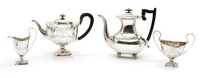 Lot 3 - A silver four-piece matched teaset