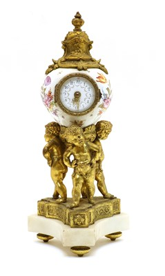 Lot 75 - A Dresden style table clock