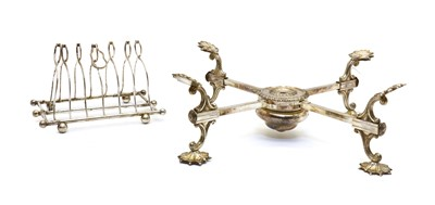 Lot 12 - An adjustable, plated plate stand
