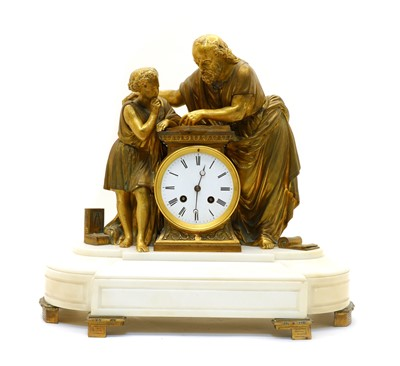 Lot 98 - A late 19th century French bronze and white marble figural mantel clock