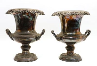 Lot 28 - A pair of silver-plated campana shaped urns