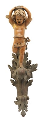 Lot 96 - A carved softwood wall light
