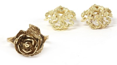Lot 57 - A pair of 9ct gold clip earrings, c.1970