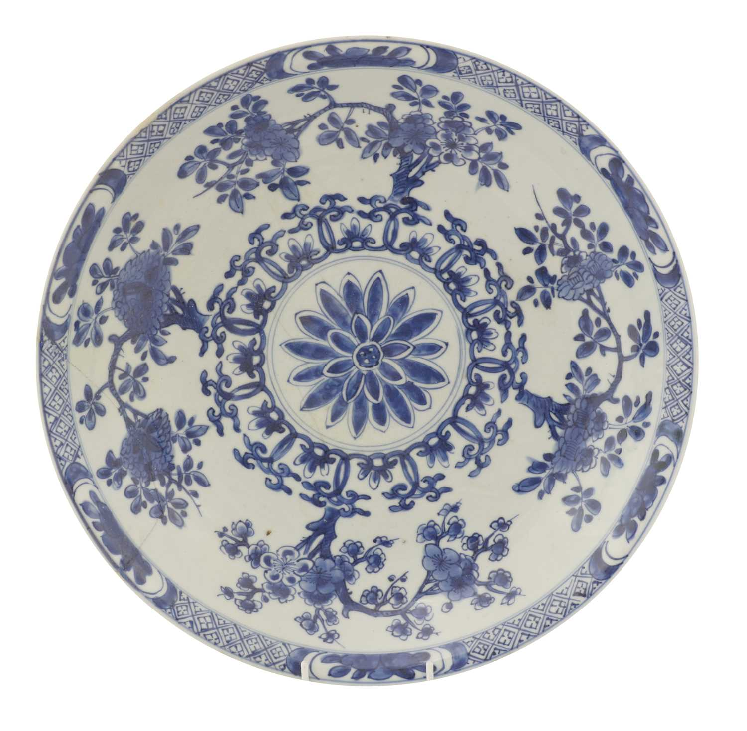 Lot 21 - A Chinese blue and white charger