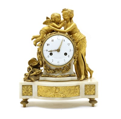 Lot 102 - A 19th century French gilt bronze and white marble lady and cherub mantel clock