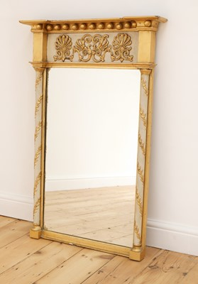 Lot 74 - A Regency-style gilt and painted pier mirror