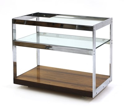 Lot 555 - A Merrow Associates chrome and rosewood trolley, §
