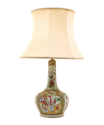 Lot 95A - A Cantonese porcelain famille rose table lamp