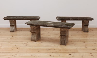 Lot 96 - A set of three composite stone benches