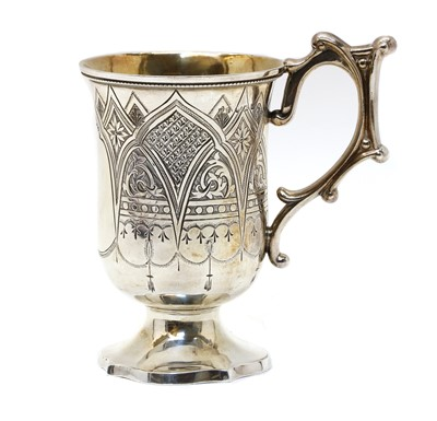 Lot 17 - A Victorian silver gothic revival cup